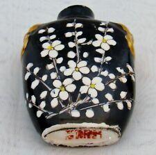 VINTAGE Snuff Bottle Dogwood Porcelain Black White Gold Enamel Red Signed