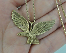 Estate 333 8K Yellow Gold Eagle Bird Pendant Box Link Chain Necklace 6.30g