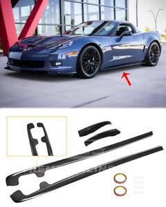 Side Skirts For 05-13 Corvette C6 Z06 GLOSSY BLACK ZR1 Style Rocker Panel Pair