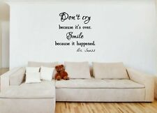 JC Design 'Don't cry because it's over. Smile because it...' Wall Stickers Decal