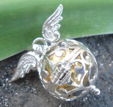 925 Sterling Silver-Harmony Ball Pendant Locket With Wing Design 16MM