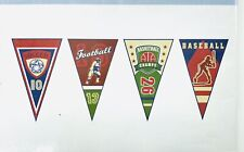 """Wallies Wall Paper Cut Outs 24 Pkg Sports Banners 9.25"""" Pre-pasted Washable Rare"""