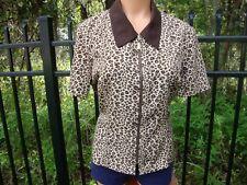 Short Sleeve Leopard Print Jacket Blazer Cardigan Coat Sz 10 full Zipper