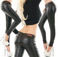 Damen Thermo Kunstleder Hose Leder Wet Look Skinny Slim Fit Crash Jeans XS-XL