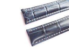 KALBSLEDERBAND blau Krokopräg. 20/18 speziell passend für Breitling-Faltschließe
