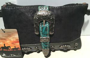 MW987-W010 Montana West Buckle Collection Clutch Mini Shoulder bag Black