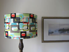 Modern Vintage Handmade 'Do Wop' 40cm Drum Lampshade Turquoise