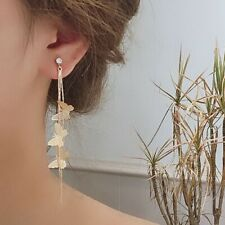 Fashion Butterfly Crystal Rhinestone Long Tassel Drop Dangle Earrings Jewelry