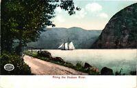 Vintage Postcard - Sailboat Floating Along The Hudson River New York NY #3591
