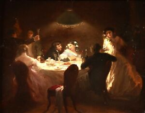 LOUISE LELEUX-GIRAUD (1824-1885) SIGNED FRENCH OIL - ELEGANT FIGURES AT DINNER