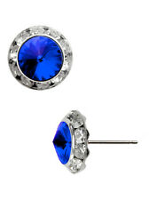 Crystal Blue Fashion Earrings Made With Crystal Swarovski Elements 12mm 1/2""