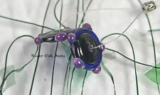 ROA Lampwork 2 Black Cobalt Purple Color Handmade Bump Disc Glass Beads SRA
