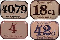 cm. 15 x 10 Numero civico personalizzato, targa ceramica, mattonella per esterno