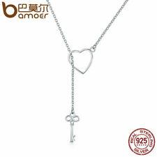 b8c848bed03f Bamoer S925 Collar de mujer de plata esterlina clave y Corazón Colgante    CZ Joyería
