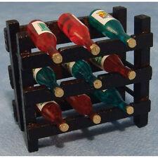 In legno vino rack con 9 bottiglie di vino, DOLL HOUSE miniatura. pub, negozio