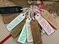 HAPPY CHRISTMAS-Kraft Card-Christmas Gift Tags-Set of 10-Handmade-Small