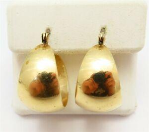 14K Yellow Gold Wide Graduated Hoop Earrings