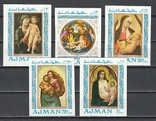 Ajman, Mi cat. 327-331 B. Religious Paintings of Madonna, Imperf issue.