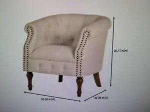 NEW Whitley Walnut Beige Wood Accent Chair with Nailheads and Tufting MSRP $599