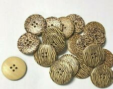 100 Animal Print Wooden Buttons - Mixed designs - Job Lot Clearance
