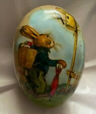 "Paper Mache Rabbit 6"" Easter Egg Candy Container Germany Euc M Drechsel Designer"
