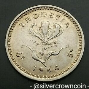Rhodesia Zimbabwe 6 Pence = 5 Cents 1964. KM#1. Flame Lily. Flower. One Year Iss