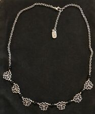 "JAMES AVERY RETIRED ONYX SCROLL FILIGREE NECKLACE STERLING SILVER 15""-17.5"""