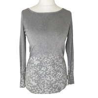 Mint Velvet Jumper UK 12 Grey Animal Print Longline Long Sleeve Round Neck Ombre