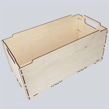 GRANDE scatola in legno Crate 43x23x23cm Stoccaggio Giocattoli Cassa Baule Decoupage CRAFT