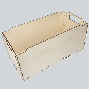 Large Wooden Box Crate 43x23x23cm Storage Toys Crate Trunk Decoupage Craft