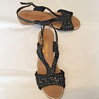 "Eric Michael Women's Shoes Black Woven Open Toe Slingback 1.5"" Heel Size 38 7.5"