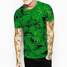 T-shirt Maglietta Stampata Erba Foglie Natura maniche corte 3D Art Print XXL