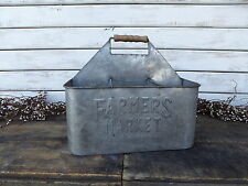 Vintage Inspired Farmhouse FARMERS MARKET Galvanized Metal Caddy Organizer