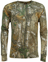 Men's Long Sleeve Forest Camo T-Shirt Realtree Print Woodland Camouflage Top