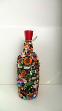 Glass Bottle with Decorative Buttons, Candle holder - Home Decor