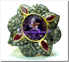 LAVISH REAL ART DECO RUBY,AMETHYST & ROSE CUT DIAMOND  925 SILVER COCKTAIL RING