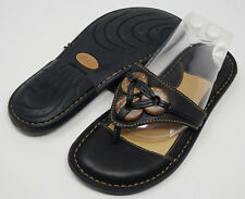 New BORN Women's Size 7 Black Braided Tribal Wood Button Detail Sandals