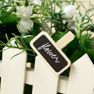 50 Wooden Pegs Clips with Blackboard Clothes Photo Paper Pin Craft Clips Wedding