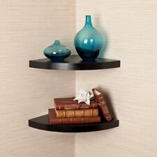 Danya B Black Veneer Corner Radial Shelves (Set of 2) - XF11115-2BK