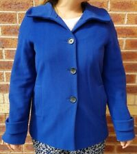 JAEGER Wool & Cashmere Blend Cobalt Royal Blue Ladies Coat Uk 12