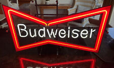 """New listing Vintage 29"""" Anheuser Busch Budweiser Beer Bow Tie Neon Bar Advertising Sign Usa"""