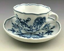 Antique Meissen Germany Blue Onion Floral Tea Cup and Saucer