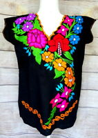 COLOR MEXICAN CURVED EMBROIDERED BLOUSE FLORAL PUEBLO WOMEN chiapas TOP PEASANT