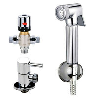 THERMOSTATIC CHROME DOUCHE MUSLIM BIDET SHATTAF SHOWER SPRAY SOLID BRASS KIT SET