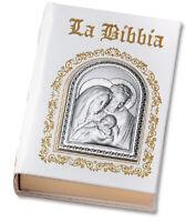 BIBBIA IN PELLE BIANCA CON PLACCA ARGENTO BILAMINATO SACRA FAMIGLIA, cm 21x15