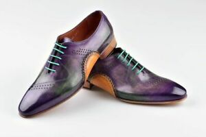 Handmade Men's Genuine Purple and Tan Leather Oxford Lace up Shoes US022