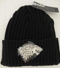 Game Of Thrones Stark 3D Sculpted Metal Chrome Beanie Cuff Knit Hat Nwt