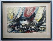 Original MID 20th CENTURY Pen Ink Watercolor ABSTRACT Painting 1965 Signed PRADL