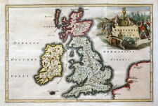 ROMAN BRITAIN, British Isles, England,UK original Cellarius antique map 1776