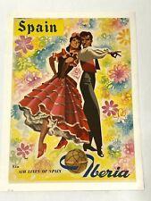 Original Vintage Travel Poster Spain Iberia Air